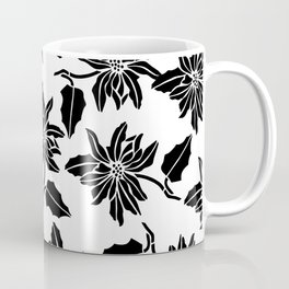 Black white modern vector poinsettia floral pattern Coffee Mug