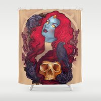 raven Shower Curtains featuring Raven by Megan Lara