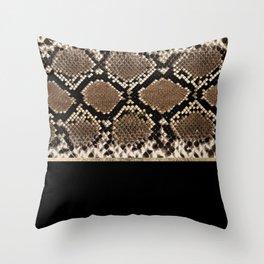 Modern black brown gold snake skin animal print Throw Pillow
