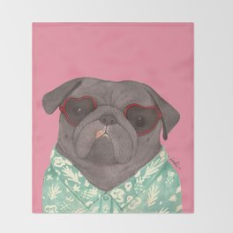 Hawaiian Pug Throw Blanket