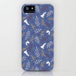 Ditsy Bunnies Amok - Lt Bunnies, Blue Background iPhone Case