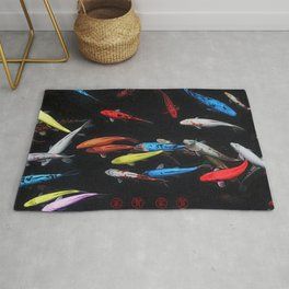 Chinese Symbols 'Peace & Family' Koi Pond Decorative Painting by Jeanpaul Ferro Rug