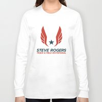 steve rogers Long Sleeve T-shirts featuring Steve Rogers Track & Field Invitational by garywithrow