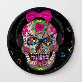 Sugar Skull Music Wall Clock