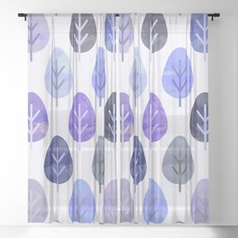 Watercolor Forest Pattern #5 Sheer Curtain
