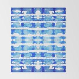 Indigo Watercolor Shibori Throw Blanket
