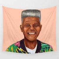 mandela Wall Tapestries featuring Hipstory - Nelson Mandela by Amit Shimoni