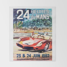 Le Mans poster, 1962, vintage poster, t-shirt, race poster Throw Blanket
