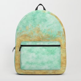 Pretty Mint Gold Glam Watercolor Backpack