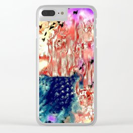 The American Flag Painted Clear iPhone Case