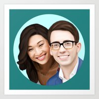 jenna kutcher Art Prints featuring Jenna Ushkowitz and Kevin Mchale by weepingwillow