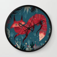 sweater Wall Clocks featuring F O X ! by Karl James Mountford