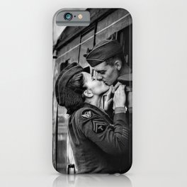 The Kiss - The Last Goodbye - Lovers kissing goodbye through open window on train black and white photograph iPhone Case