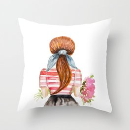 Redhead girl with flowers Throw Pillow