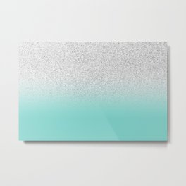 Modern Girly Faux Silver Glitter Ombre Teal Ocean Color Block Metal Print