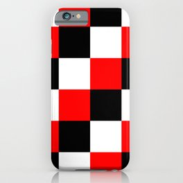 Black White Red Checker Pixel - Mandrake iPhone Case