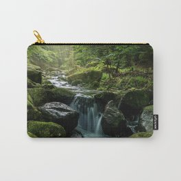 Flowing Creek, Green Mossy Rocks, Forest Nature Photography Carry-All Pouch