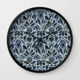 Ballpoint Pattern in Indigo Wall Clock