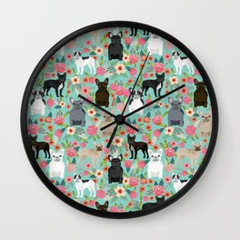 Frenchie floral french bulldog cute pet gifts dog breed must haves florals french bulldogs Wall Clock