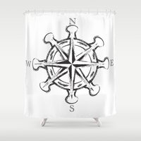 compass Shower Curtains featuring Compass by Mady Guzman