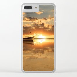 The fishing boat at sunset Clear iPhone Case