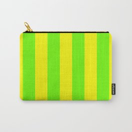 Bright Neon Green and Yellow Vertical Cabana Tent Stripes Carry-All Pouch