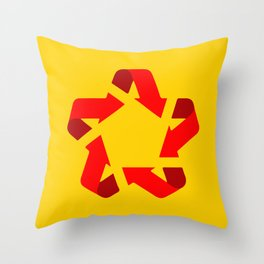 Recycle red star Symbol of new communism Throw Pillow