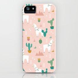 Llamas + Cacti on Pink iPhone Case