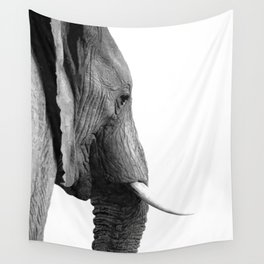 Black And White Elephant Portrait Wall Tapestry