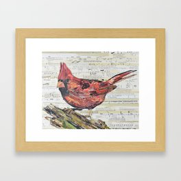 Cardinal / Red Bird Collage by C.E. White Framed Art Print