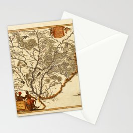 Map Of Paraguay 1671 Stationery Cards