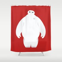 baymax Shower Curtains featuring Baymax by Polvo