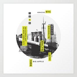 New York Brooklyn Bridge Illustration Art Print