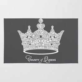 County of Queens | NYC Borough Crown (WHITE) Rug