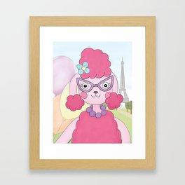 Pink Poodle in Paris Framed Art Print