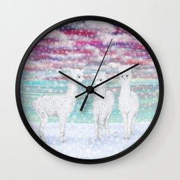 alpacas in the snow Wall Clock