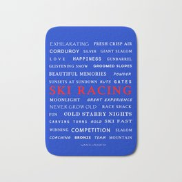 Ski Racing Blue Bath Mat