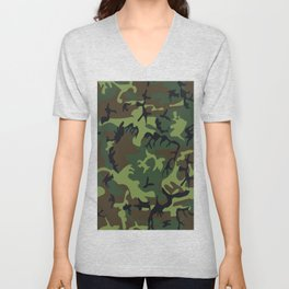 Military camouflage,soldiers pattern decor. Unisex V-Neck