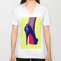 shoe V-neck T-shirts featuring Shoe by Giuseppe Cristiano