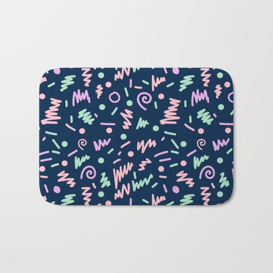 Zola - bright happy fun pattern navy blue pastel shapes charlotte winter Bath Mat