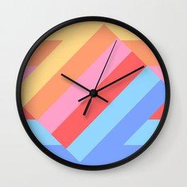 Matted Pastel Rainbow Layered Wall Clock