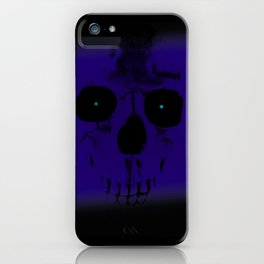 Blue Skull on Black iPhone Case