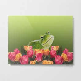 Frog with red and yellow Roses Metal Print