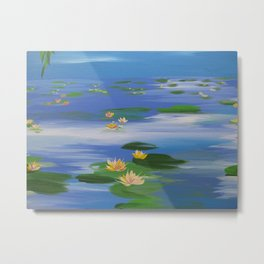 monet style impressionist painting of waterlillies water lilies water-lilies blue green nympheas Metal Print