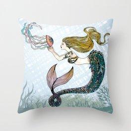 Jellyfish and Mermaid Throw Pillow