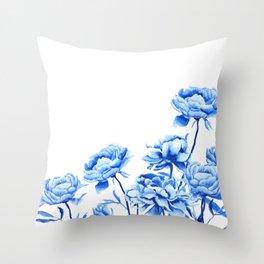 blue peonies 2 Throw Pillow
