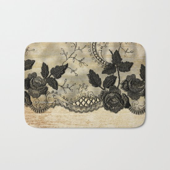 Black floral lace on wood  -Elegant and luxury design for women Bath Mat