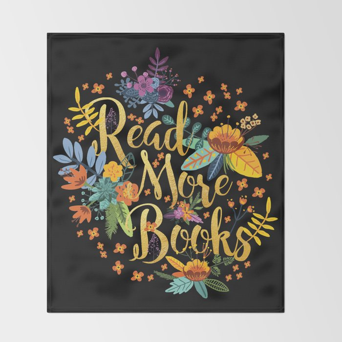 Read More Books - Black Floral Gold Throw Blanket