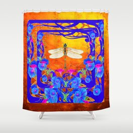 Blue Morning glories Dragonfly Golden Surreal Art Shower Curtain