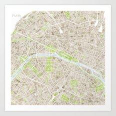 Paris SGB Watercolor Map Art Print